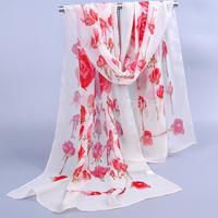 Hot New romantic rose printed style long silk scarf women scarf velvet chiffon shawl 4 colors 160*50cm wholesale free shipping