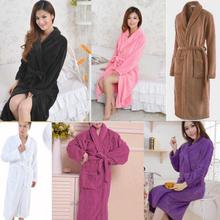 HOT! Loose Women&Men Coral Fleece Long Night-robe Sleepwear Shawl Collar Bathrobe H0799(China (Mainland))