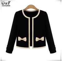 Spring Overcoats 2015 Womens Black Apricot Patchwork Long Sleeve Bow Embellished High Fashion Designer Brands Crop Coat