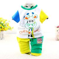 2015 New summer baby suit character Giraffe short sleeve children clothing set 7012