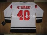 Wholesale Hockey red wings 40# Henrik Zetterberg fashion white jerseys, please read size chart before order
