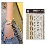 Hot Sale Unisex Metallic Removabl Seven Geometric patternsTemporary Tattoo Stickers Temporary Body Art SWaterproof Tattoo