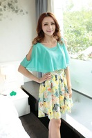 Free Shipping Women's Short Sleeve Floral Flower Print Patchwork Waist with Belt Chiffon Mini Dress