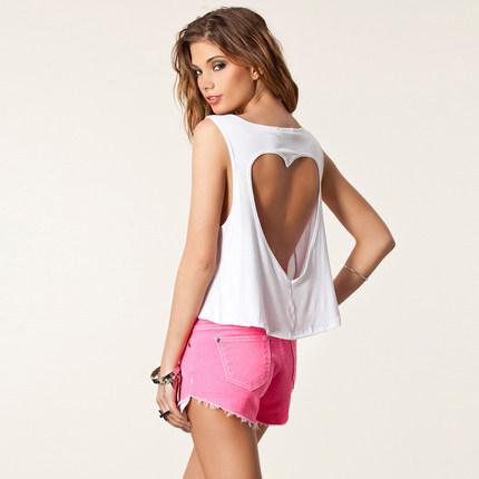 Crop Tops Summer T shirt 2015 Sleeveless O-neck Back Hollow Out Heart T shirt Women High Street Tropical Top Cropped Plus Size(China (Mainland))