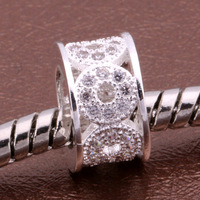 Z098 925 sterling silver DIY thread CZ Crystal Beads Charms fit Europe pandora Bracelets necklaces /huiaqlpa
