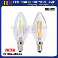 Wholesale-sale!! 100pcs E14 LED Candle Bulb 2W 4W 200-400lm AC 220V LED filament Lamp White/Warm white Free DHL Delivery