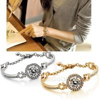 Wholesale New Fashion Popular Stylish Women Cylindrical Crystal Gold Filled Zircon Bracelet Chain dropshipping 19136