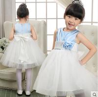 Free Shipping Children Wedding Formal Dress Girls Princess Dress Cute Bow Tutu Vest Dress party dress Q28