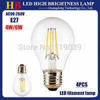 Hot sale!! 4pcs/lot LED Home Lighting lamp E27 Base LED filament bulb 4W 6W White/Warm white Light AC 110/220V 2 Year warranty