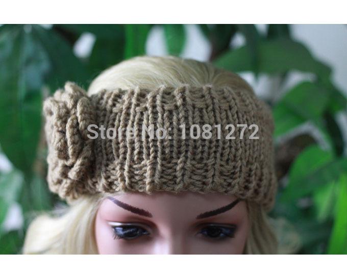 (6pieces/lot) Wholesale 2015 One Flower Khaki Knit Headband,Cute Turban Headband,Earwarmer,Hair Accessory headband pattern,(China (Mainland))