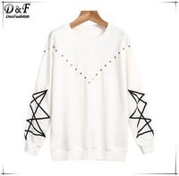 Geometric Print Rivet Pullovers 2015 Fashion Brand Women White Long Sleeve Spring Newest Novelty Design Simple Sweatshirt