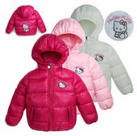 [Sashine kids]Retail baby girls winter thickening Berber fleece Kitty cotton jackets&coats children girls clothing outwear