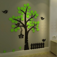 Modern Design 3D Sticker Tree Wall Stickers for Kids Room DIY Crystal Acrylic Wall Stickers Home Decor