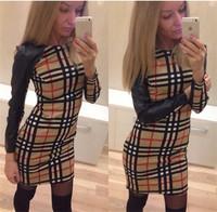 Hot Sale 2015 Spring Autumn Fashion Women Brand Slim Bodycon Dress Long- sleeved Plaid Print Patchwork Dresses Lady Causal Dress