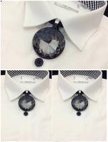 Korean Classical Metal Fashion Men Collar Flower Tie Gem Pendants Bridegroom Bow Tie Stage Performance Accessories Bolo Tie
