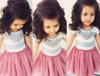 BD189 2015 New Sale Lovely Baby Clothes Pink Color Girl's Dress 1 Pcs Cute Children Suits Free Shipping Retail And Wholesale