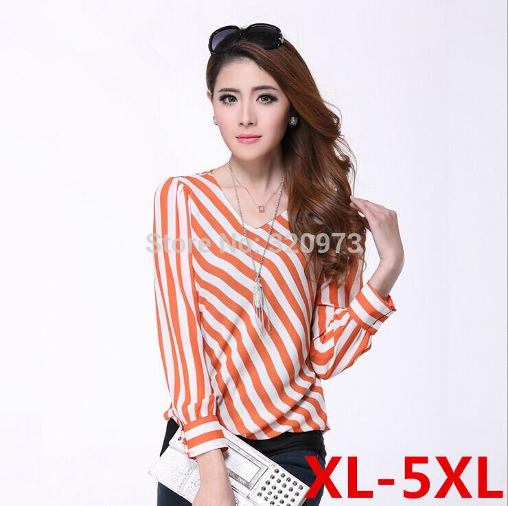 Orange Striped Shirt Shirt Women Chiffon Orange