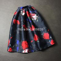 2015 New 50S Royal Vintage Women Retro Rose Flower Print Swing Skirt High Waist Tutu Saia Estampada Curtas Rockabilly Pin Up