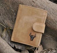 Vintage Designer Men wallets Genuine Crazy Horse Leather Cowhide Men Short Trifold purse card holder wallet With Coin Pocket