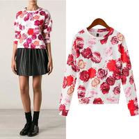 #YZX-LBS Spring Autumn women flower print hoody pullover shirts long sleeve O-neck women sweatshirt hoodies outwear suit