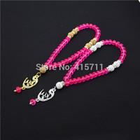 Hot Pink Crystal Rondelles  Islamic Muslim Prayer Beads Tasbih 33beads Allah Misbaha Sibha   L150113018