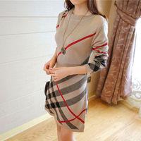 2014 check plaid slim o-neck sweater basic one-piece dress female 5601