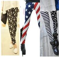 12 Hot High Elastic Design Vintage graffiti milk silk Leggings Floral patterned Print Leggings For Women Free Shipping