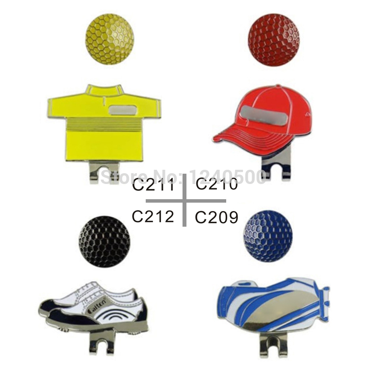 Free Shipping 4pcs Golf Ball Markers Plus Golf Hat Clip, Golf Shoes Mark, Bags,Cloth,Hat, Golf Accessories(China (Mainland))