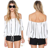 HOT women sexy shirt black white Stripe length sleeve Leisure time Elastic waist women tops shirt  YA16