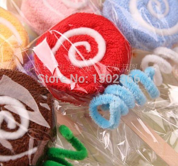 Free Shipping Gift Lollipop Towel Bridal Baby 30pca/Lot Lembrancinha De Festa Infantil Kids Birthday Party Supplies(China (Mainland))