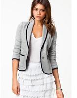 Women Slim Long Sleeve Small Suit Short Coat Outer Lapel Jacket Blazer