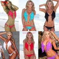 Modern2015 New Bikinis Set Push Up Bikini Sexy Women Triangle Swimsuit Tassel Biquini 6 Colors Bandage Sexy Bikini S M L XL