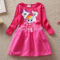 Free shipping 5pcs/lot girls dress my little poney dress girls spring long sleeve cartoon dress  European American lace dress