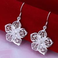 Antique Silver Flower Dangle Hook Earrings Women's Earrings with Sterling 925 Silver Plating Women's Jewelry Gift Free Shipping