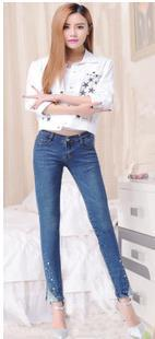 2015 new Spring women fit jeans large size clothing foreign trade drilling hot Korean with Diamond pencil pants(China (Mainland))