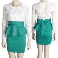 Women Celebrity Elegant Spring Dress 2015 New Color Block Patchwork Lace Bowknot Slim Bodycon Wear to Work Pencil Sheath Dress