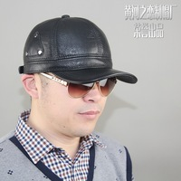 Genuine leather hat male fashion rivet 2015 autumn and winter thermal ear baseball cap