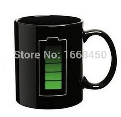 Creative Battery Level Cup Magic Color Changing Ceramic Office Mug(China (Mainland))
