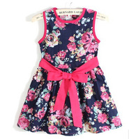 Free Shipping  1PC/Lot High Quality Summer Girl Baby Child Flower Cotton Dress Girls Clothes Casual Princess Dresses Gift