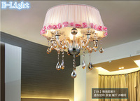 Cloth Crystal Pednat Lights 5Bulbs Pink/Red/Purple/Coffee(Brown) Flowers Color Big Lampshade E14 Lustres De Cristal Pendant Lamp