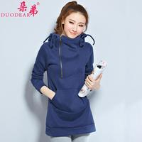 2014 spring and autumn women outerwear plus velvet thickening medium-long pullover hoody sweatshirt female