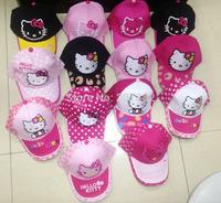 300pcs/Lot Free Shipping ! 2015 The Newest Hello Kitty Baseball Cap Cartoon Grils Sun Hats Party Gift A114  Wholesale