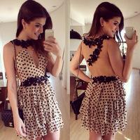vestidos 2015 new women dress wave point lace stitching gauze dress vestido de festa women summer dress