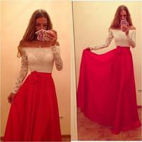 Hot Sale 2015 New Women's European and American Big Swing Collar Long-sleeved Chiffon Dress Sexy Strapless Long Evening Dress