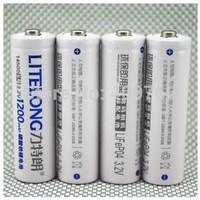40PCS/LOT High Capacity LITELONG AA 1200mah 14500 3.2v lifepo4 Rechargeable Battery Consumer Battery,4pcs/card