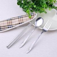 Hot sales new stainless steel tableware set spoon fork knife three-piece suit