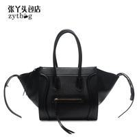 Famous Luxury Brand Fashion Women Lady PU Leather Smiley Tote Bag,Smile Face Color Tassel Classic Purse Handbag