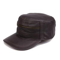 2015 brief fashion genuine leather hat sheepskin quinquagenarian cadet military cap hat male winter thermal
