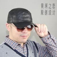 Original design autumn and winter genuine leather hat sheepskin warm hat cadet cap
