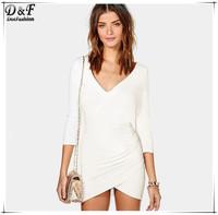 Vestidos Women Summer 2015 Sale Brand Desigual White Dresses Sexy Ladies Casual V-neck Long Sleeve Asymmetrical Bodycon Dress